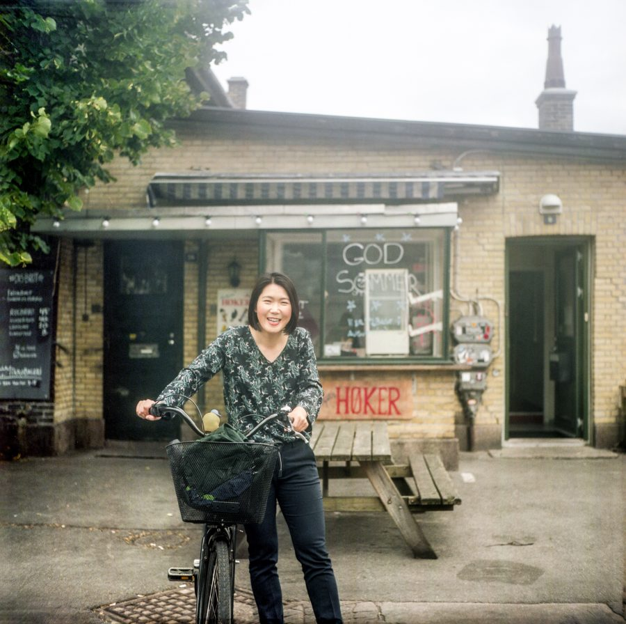 My girlfriend and her bike in Kødbyen, Copenhagen. Taken with the Yashica Mat 124g 80mm f3.5 with Kodak Portra 160 film